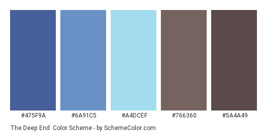 The Deep End - Color scheme palette thumbnail - #475F9A #6A91C5 #A4DCEF #766360 #5A4A49