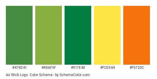 Air Wick Logo - Color scheme palette thumbnail - #478d41 #88af3f #017e40 #fce544 #f5720c