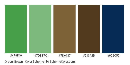 Green, Brown & Blue - Color scheme palette thumbnail - #479f49 #7db87c #7d6137 #513a1d #052c55