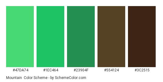 Mountain - Color scheme palette thumbnail - #47DA74 #1EC464 #23904F #554124 #3C2515