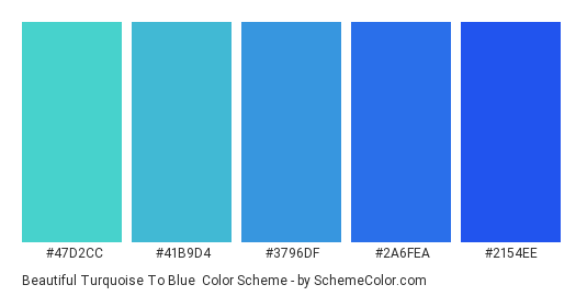 Beautiful Turquoise to Blue - Color scheme palette thumbnail - #47d2cc #41b9d4 #3796df #2a6fea #2154ee