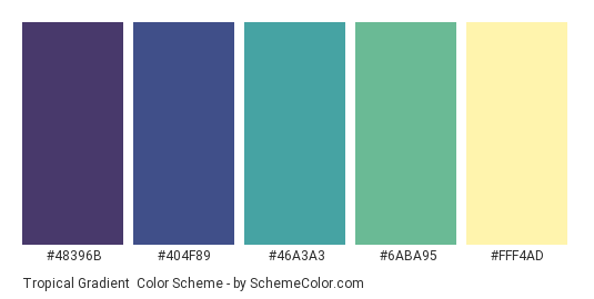 Tropical Gradient - Color scheme palette thumbnail - #48396B #404F89 #46A3A3 #6ABA95 #FFF4AD