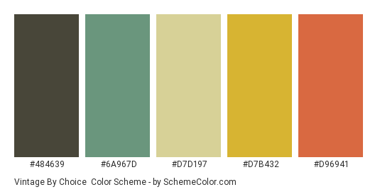 Vintage by Choice - Color scheme palette thumbnail - #484639 #6a967d #d7d197 #d7b432 #d96941