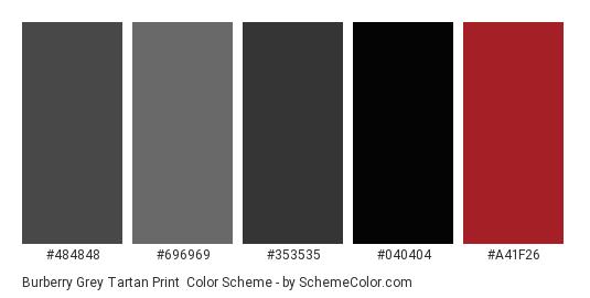 Burberry Grey Tartan Print - Color scheme palette thumbnail - #484848 #696969 #353535 #040404 #a41f26