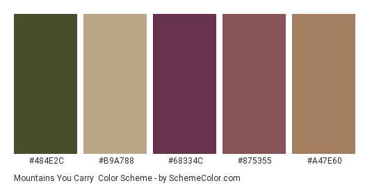 Mountains You Carry - Color scheme palette thumbnail - #484e2c #b9a788 #68334c #875355 #a47e60