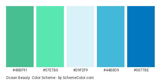Ocean Beauty - Color scheme palette thumbnail - #48BF91 #57E7B0 #D9F2F9 #44B8D9 #0077BE
