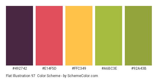 Flat Illustration 97 - Color scheme palette thumbnail - #492742 #E14F5D #FFC349 #A6BC3E #92A43B