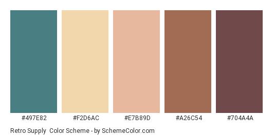 Retro Supply - Color scheme palette thumbnail - #497E82 #F2D6AC #E7B89D #A26C54 #704A4A
