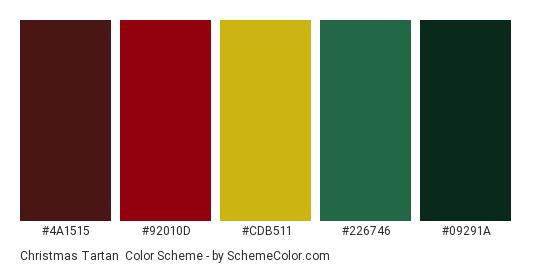 Christmas Tartan - Color scheme palette thumbnail - #4A1515 #92010D #CDB511 #226746 #09291A