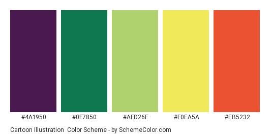 Cartoon Illustration - Color scheme palette thumbnail - #4A1950 #0F7850 #AFD26E #F0EA5A #EB5232
