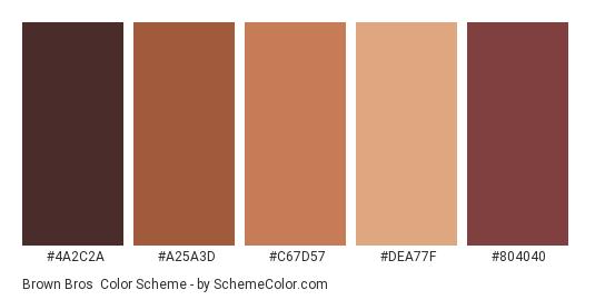 Brown Bros - Color scheme palette thumbnail - #4A2C2A #A25A3D #C67D57 #DEA77F #804040