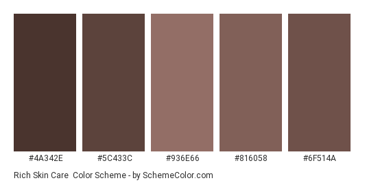 Rich Skin Care - Color scheme palette thumbnail - #4A342E #5C433C #936E66 #816058 #6F514A