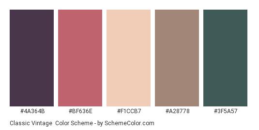 Classic Vintage - Color scheme palette thumbnail - #4A364B #BF636E #F1CCB7 #A28778 #3F5A57