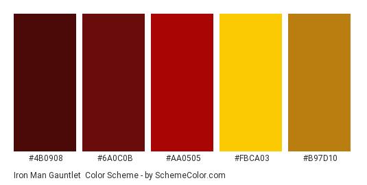 Iron Man Gauntlet - Color scheme palette thumbnail - #4B0908 #6A0C0B #AA0505 #FBCA03 #B97D10