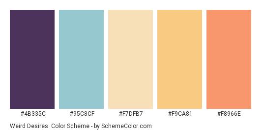 Weird Desires - Color scheme palette thumbnail - #4B335C #95C8CF #F7DFB7 #F9CA81 #F8966E