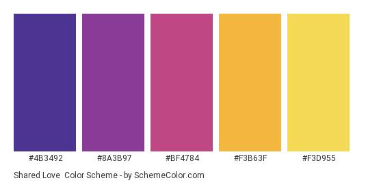 Shared Love - Color scheme palette thumbnail - #4B3492 #8A3B97 #BF4784 #F3B63F #F3D955