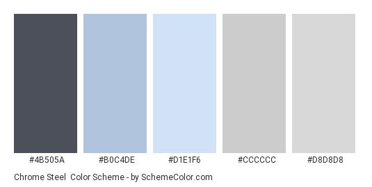 Chrome Steel Color Scheme Palette Thumbnail 4b505a B0c4de D1e1f6 Cccccc