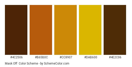 Mask Off - Color scheme palette thumbnail - #4C2506 #B65B0C #CC8907 #DAB600 #4E2C06