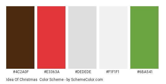 Idea of Christmas - Color scheme palette thumbnail - #4C2A0F #E3363A #DEDEDE #F1F1F1 #6BA541