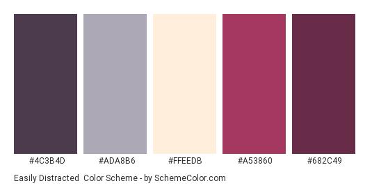 Easily Distracted - Color scheme palette thumbnail - #4C3B4D #ADA8B6 #FFEEDB #A53860 #682C49