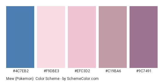 Mew (Pokemon) - Color scheme palette thumbnail - #4C7EB2 #F9DBE3 #EFC3D2 #C19BA6 #9C7491