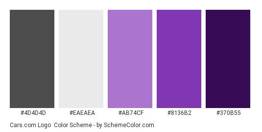 Cars.com Logo - Color scheme palette thumbnail - #4D4D4D #EAEAEA #AB74CF #8136B2 #370B55