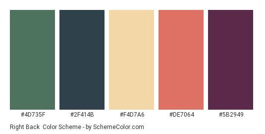 Right Back - Color scheme palette thumbnail - #4D735F #2F414B #F4D7A6 #DE7064 #5B2949
