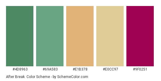 After Break - Color scheme palette thumbnail - #4D8963 #69A583 #E1B378 #E0CC97 #9F0251