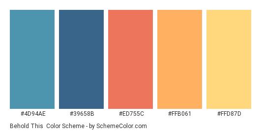 Behold This - Color scheme palette thumbnail - #4D94AE #39658B #ED755C #FFB061 #FFD87D