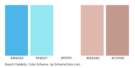 Beach Celebrity - Color scheme palette thumbnail - #4DB5E8 #94E6F1 #FFFFFF #DEB8AD #C2998D