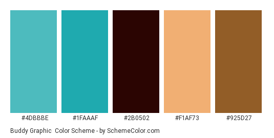 Buddy Graphic - Color scheme palette thumbnail - #4DBBBE #1faaaf #2b0502 #f1af73 #925d27