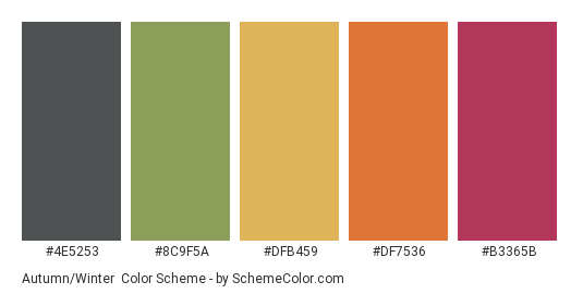 Autumn/Winter - Color scheme palette thumbnail - #4E5253 #8C9F5A #DFB459 #DF7536 #B3365B