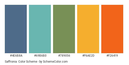 Saffronia - Color scheme palette thumbnail - #4E6B8A #69B6B0 #789056 #F6AE2D #F26419