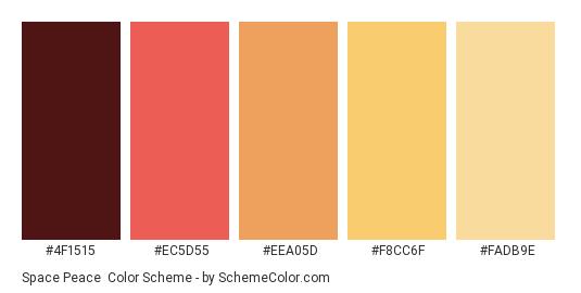 Space Peace - Color scheme palette thumbnail - #4F1515 #EC5D55 #EEA05D #F8CC6F #FADB9E