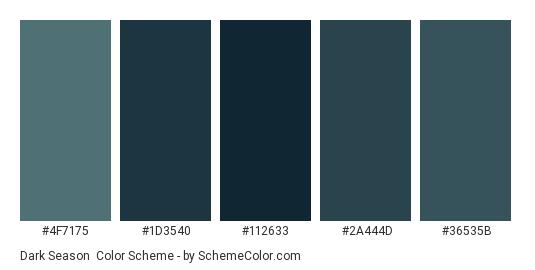 Dark Season - Color scheme palette thumbnail - #4F7175 #1D3540 #112633 #2A444D #36535B