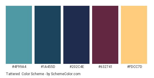 Tattered - Color scheme palette thumbnail - #4F99A4 #1A455D #202C4E #632741 #FDCC7D
