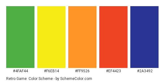 Retro Game - Color scheme palette thumbnail - #4FAF44 #F6EB14 #FF9526 #EF4423 #2A3492