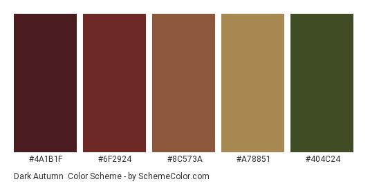 Dark Autumn - Color scheme palette thumbnail - #4a1b1f #6f2924 #8c573a #a78851 #404c24