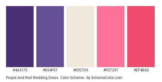 Purple and Red Wedding Dress - Color scheme palette thumbnail - #4a3175 #654f97 #efe7d9 #fd7297 #ef4b6d