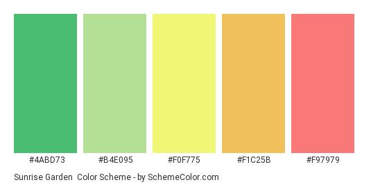 Sunrise Garden - Color scheme palette thumbnail - #4abd73 #b4e095 #F0F775 #f1c25b #f97979