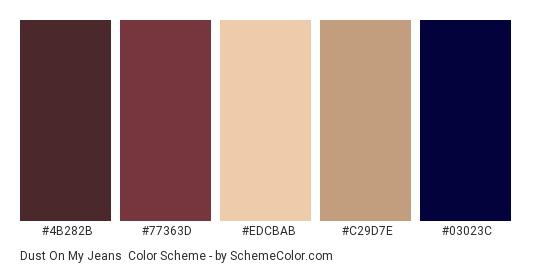 Dust On My Jeans - Color scheme palette thumbnail - #4b282b #77363d #edcbab #c29d7e #03023c