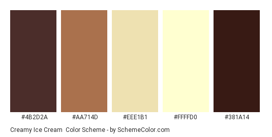 Creamy Ice Cream Color Scheme Palette Thumbnail 4b2d2a Aa714d Eee1b1