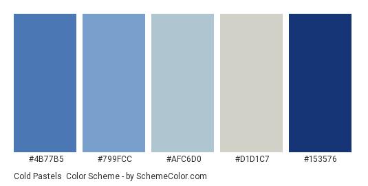 Cold Pastels - Color scheme palette thumbnail - #4b77b5 #799fcc #afc6d0 #d1d1c7 #153576
