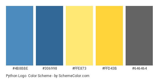 Python Logo - Color scheme palette thumbnail - #4b8bbe #306998 #ffe873 #ffd43b #646464