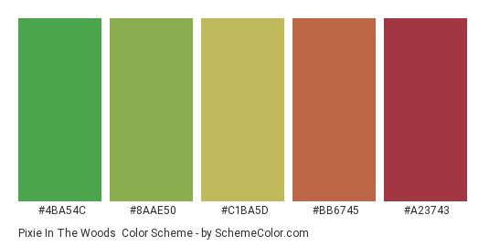 Pixie in the Woods - Color scheme palette thumbnail - #4ba54c #8aae50 #c1ba5d #bb6745 #a23743