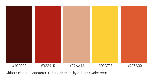 Chhota Bheem Character - Color scheme palette thumbnail - #4c0e08 #b22015 #e0aa8a #fccf37 #de5a30