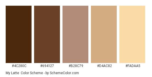 My Latte - Color scheme palette thumbnail - #4c280c #694127 #b28c79 #d4ac82 #fadaa5