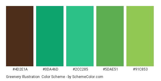 Greenery illustration - Color scheme palette thumbnail - #4d2e1a #0da46d #2cc285 #5dae51 #91c853