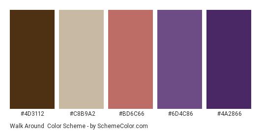 Walk Around - Color scheme palette thumbnail - #4d3112 #c8b9a2 #bd6c66 #6d4c86 #4a2866