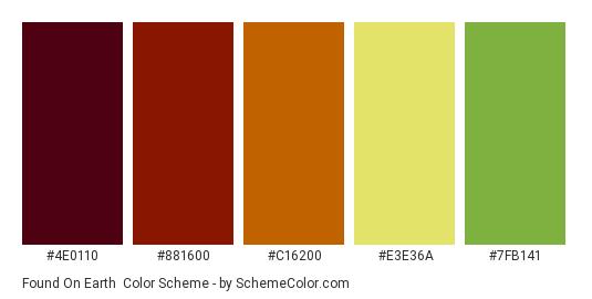Found on Earth - Color scheme palette thumbnail - #4e0110 #881600 #c16200 #e3e36a #7FB141